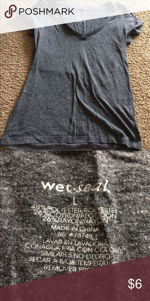 Selling this Wet seal dark gray tight fitted tshirt on Poshmark! My username is: mjenkins0629. #shopmycloset #poshmark #fashion #shopping #style #forsale #Wet Seal #Tops
