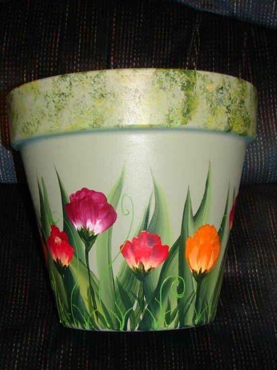one stroke painting | One Stroke Painting / Clay Pot - Painted vibrant florals on this clay ...