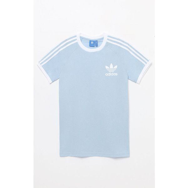 adidas Trefoil Light Blue T-Shirt ($28) ❤ liked on Polyvore featuring tops, t-shirts, trefoil tee, light blue t shirt, adidas top, short sleeve crew neck t shirt and adidas trefoil tee
