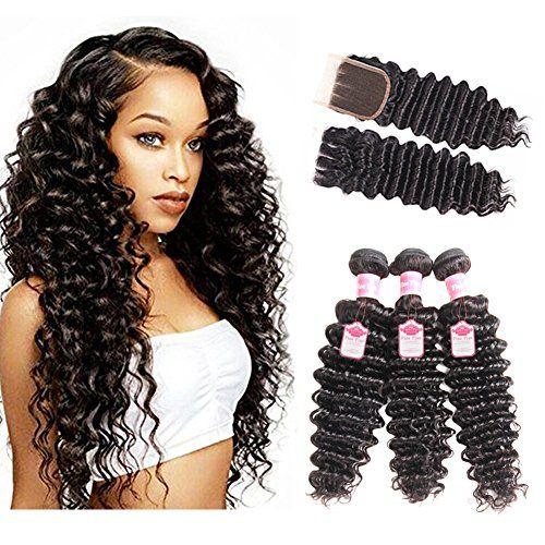 8a Peruvian Deep Wave Hair 3 Bundles With Closure Fine Plus Unprocessed Virgin Ha Deep Wave Hairstyles Deep Wave Brazilian Hair Brazilian Virgin Hair Body Wave