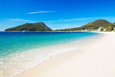 Shoal Bay looking towards Tomaree Head - had a lovely lunch here today.