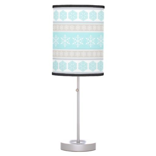 Great Snowflake Ski Sweater Powder Blue and Beige Table Lamps