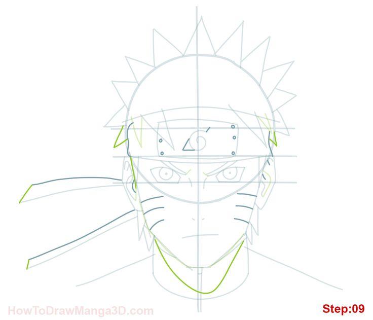 How to draw Naruto Uzamaki step 09