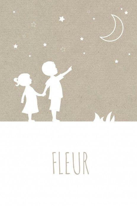 Bloom09 Geboortekaartje Letterpress Look Broer en Zus kraft - LL voor