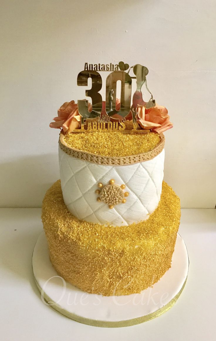 Gold and white 30th birthday cake