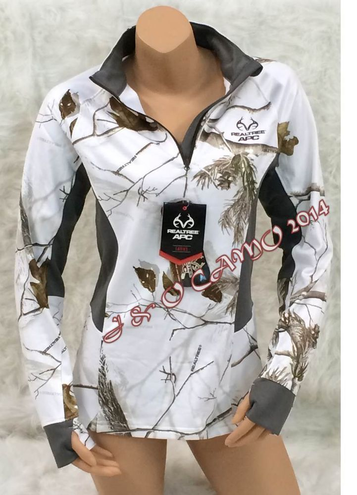 NEW 2015! Women's Realtree APC White Snow Camo Gray Pullover Jacket S M L XL 2XL #RealtreeAPC #PoloShirt #Casual