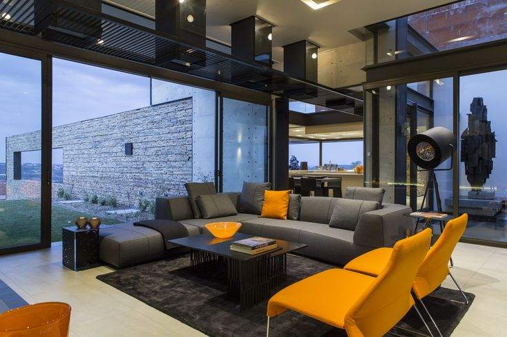 Double volume lounge house pinterest steel house open plan and modern living