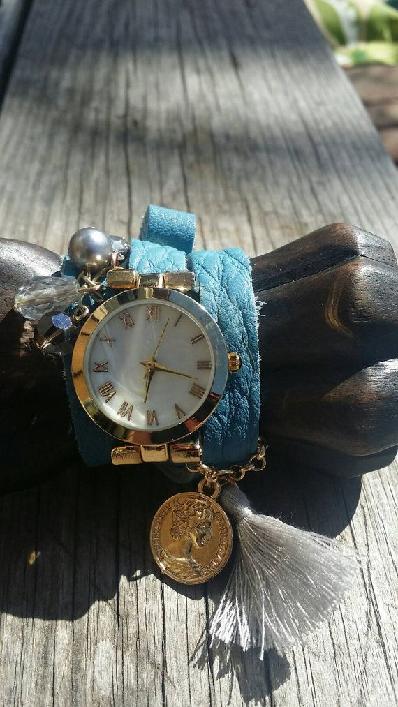 Blue Leather Wrap Watch Gold Suede Bead by FaithRustGypsyDust