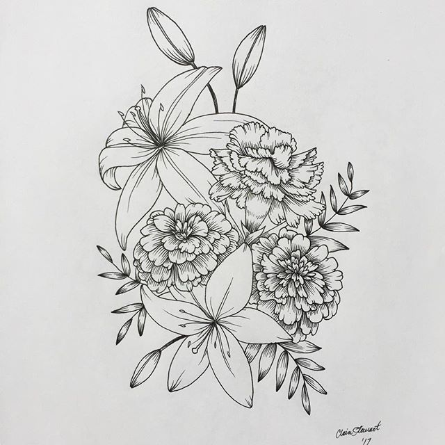 I'm always a big fan of marigolds and carnations #flowers #art #drawing #tattoo #lily #carnation #marigold #sketchbook #pen #floral