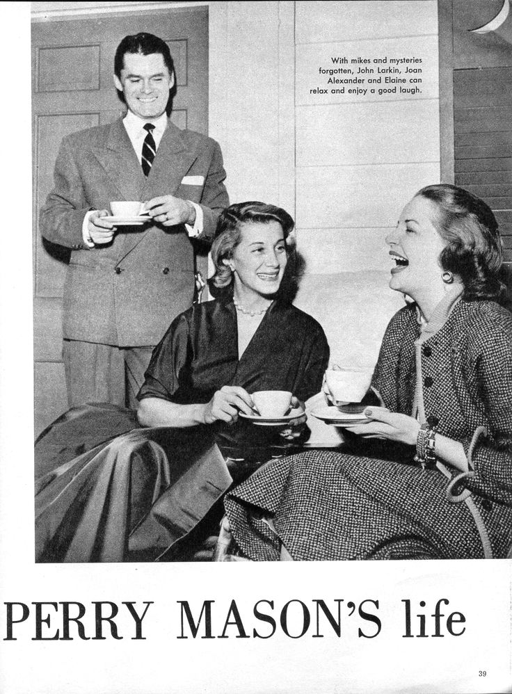 Perry Mason Radio Show. John Larkin as Perry Mason, Joan Alexander as Della Street, Elaine Rost as Ruth Davis.  From Radio-TV Mirror, February 1953.  From the Jim Davidson Collection.