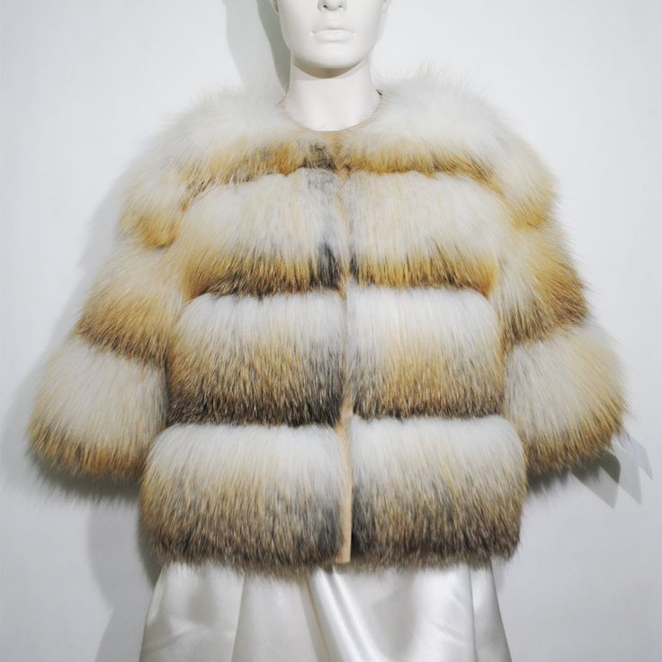 Super gorgeous white, yellow & grey fox fur jacket for spring nights' breeze.
