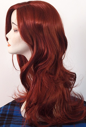 Poison Ivy Hair Color - just past shoulder length wig with side swept bangs