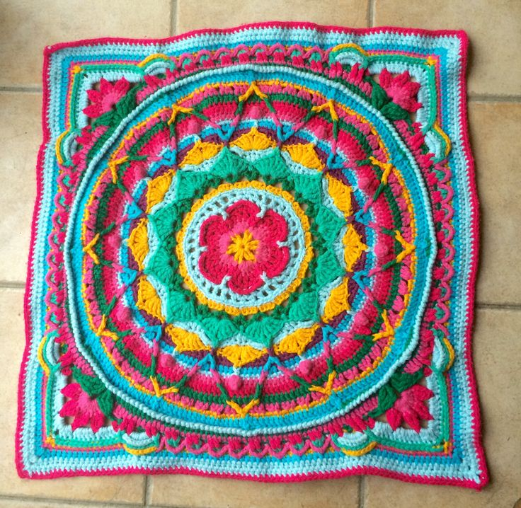 Mandala baby blanket for Maggie made from Sophie's Universe tutorial.