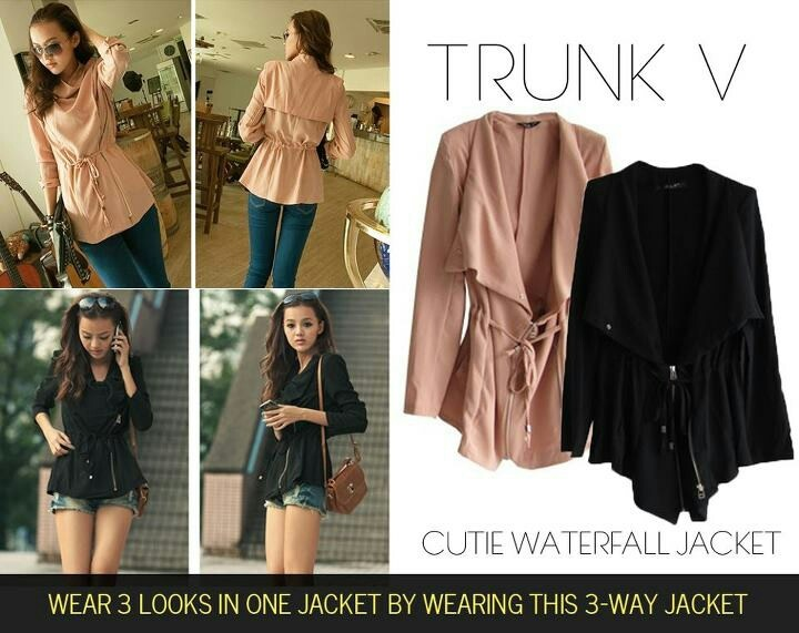 Cutie waterfall jacket that you can wear in 3 different ways! Available at trunkv.com
