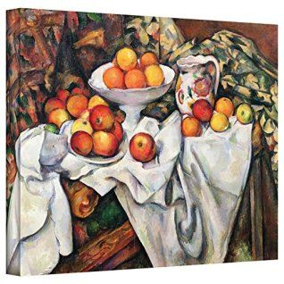Orange wall art is the perfect type of fall wall art to use  in your home.  In fact fall canvas art is  especially trendy this time of year.   Whether it be an orange wall clock, orange canvas art or even orange  wall hangings you will find something perfect to decorate your home for  #autumn.       Art Wall Paul Cezanne 'Apples and Oranges' Gallery Wrapped Canvas Art, 18 by 24-Inch