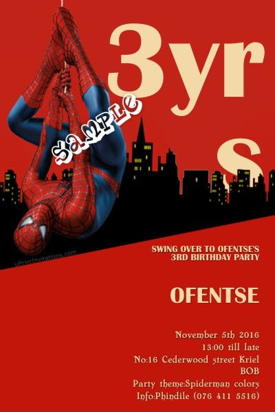 Card: Spiderman Swings Birthday Invitations