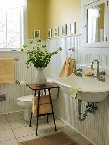 farmhouse bathrooms, bathroom ideas, diy, flooring, home decor, how to, repurposing upcycling, A gorgeous yellow Farmhouse bathroom