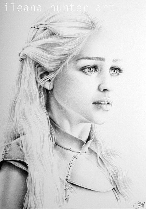 Emilia Clarke als Daenerys Targaryen Bleistift Zeichnung Porträtgemälde Signed Print