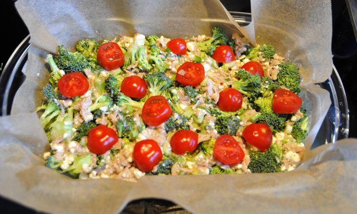 Eiwitrijke quiche > broccoli, eieren, eiwit, tomaat, huttenkase