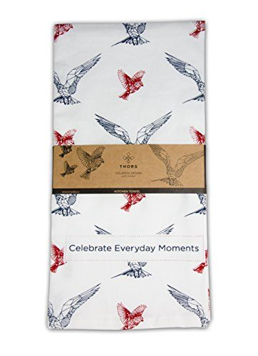 Scandinavian Dishtowel - Set of 2 - High Quality 100% Cotton Kitchen Towel 20 x 30 Geometric Birds design dishtowels for the best experience. * Details can be found by clicking on the image.
