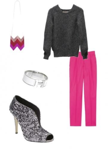Une touche de pink !    Moodboard Pop    On craque totalement pour le pantalon rose fluo Stella McCartney ! Il donnera une touche de pep's a votre look d'hiver.