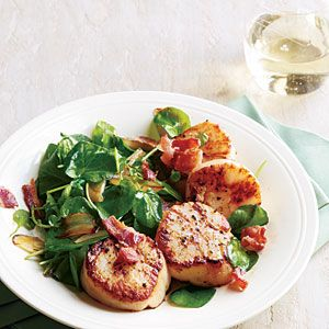 300-Calorie Dinners | Seared Scallops with Wilted Watercress and Bacon | CookingLight.com