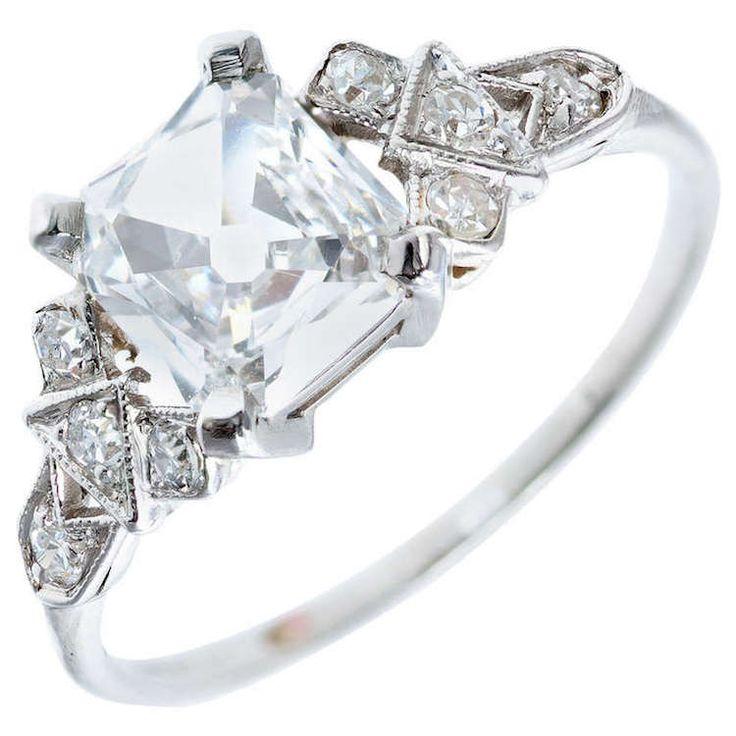 Square cut Diamond vintage engagement ring
