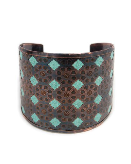 Angelina Turquoise Metal Cuff - JewelMint