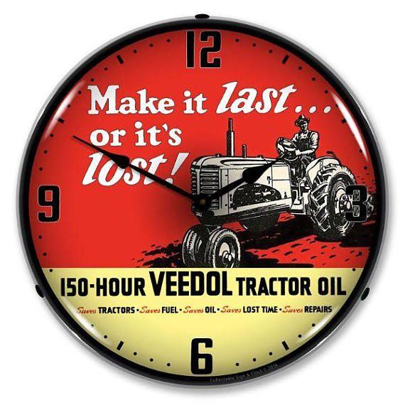 Antique Style Veedol Tractor Oil Backlit Clock 129 99 Wall Clock Light Tractors Advertising Clocks