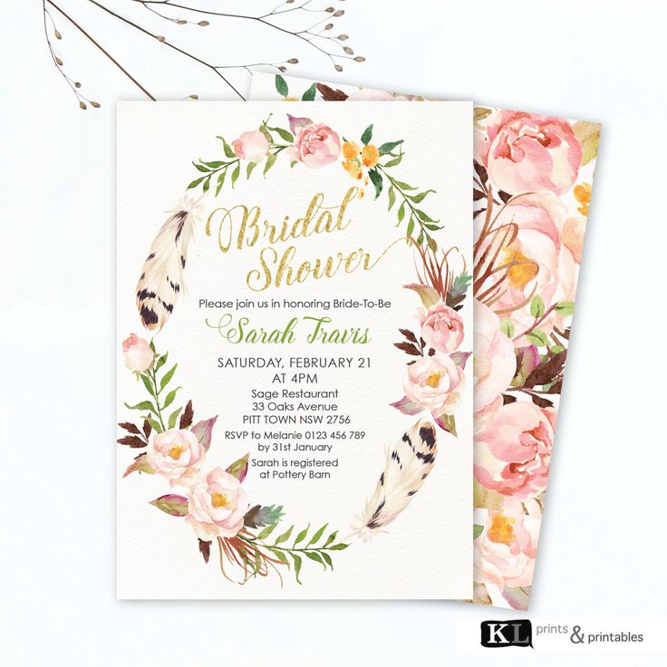 Personalized Bridal Shower Invitation, pink green watercolor floral boho wreath, Printable digital Invite bridal shower invites free reverse by KLprintsandprintable on Etsy