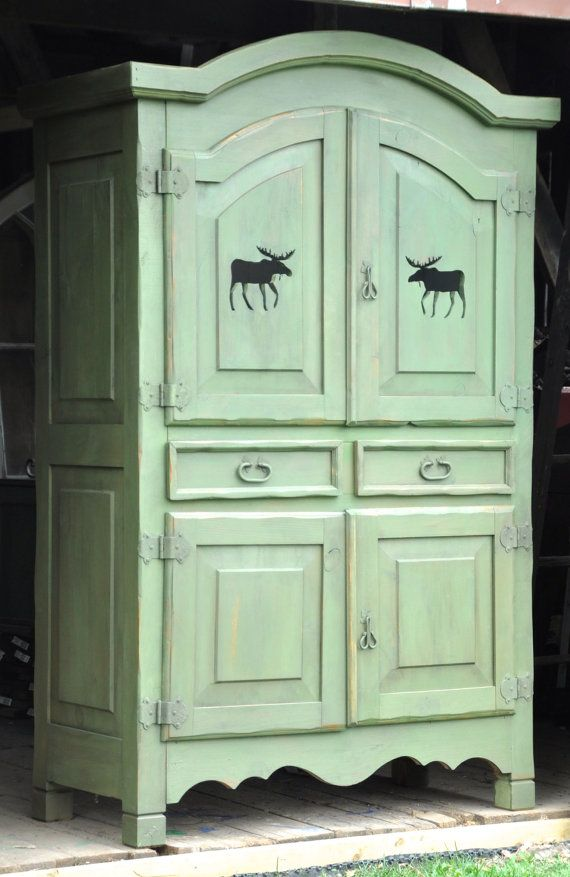 Rustic Country Cottage Moose themed Armoire by Windyhillbarn