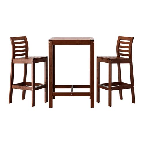 ikea pplar bar table and 2 bar stools for added durability and