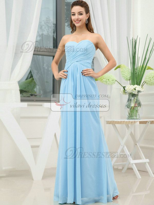 Strapless Sweetheart Floor Length Chiffon Bridesmaid Dress