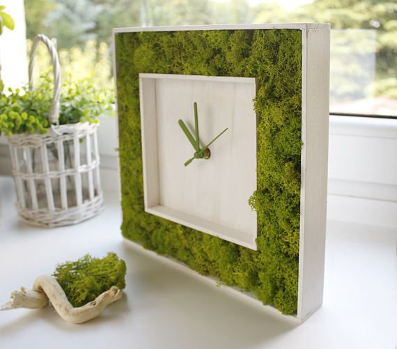 #greenery #green #white #interior #decor  Modern Wall Clock WOOD CLOCK greenery home decor indoor