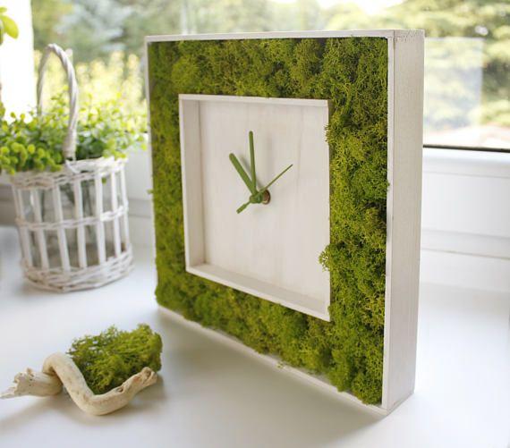 #greenery #green #white #interior #decor  Modern Wall Clock WOOD CLOCK greenery home decor indoor