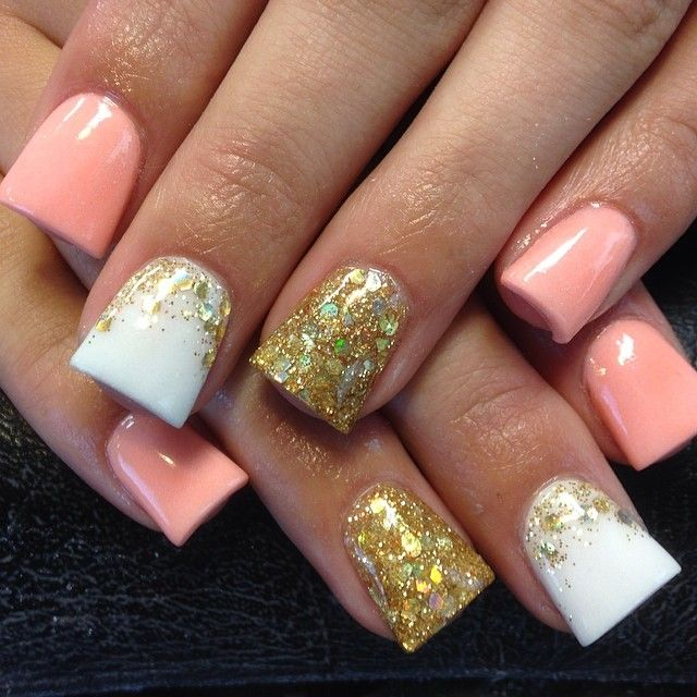 Coral, White and Gold Glitter Mani