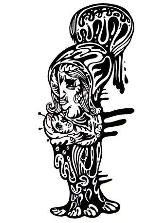 Gabriel Tiongson Maria Mom ink on paper © 2010