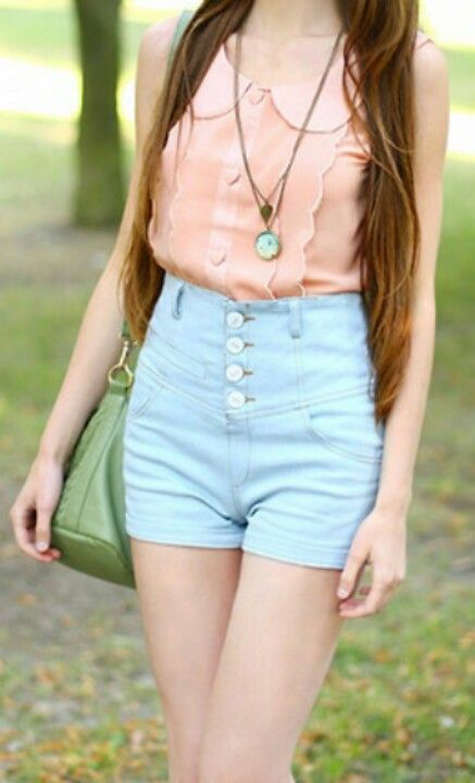Cute blouse and high-waisted shorts