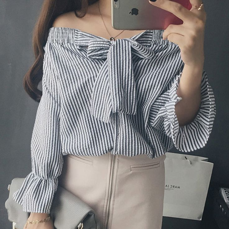 >> Click to Buy <<  off shoulder blouse big bow striped women shirts cropped tops fashion chemisier femme chemise femme camisetas manga larga mujer #Affiliate