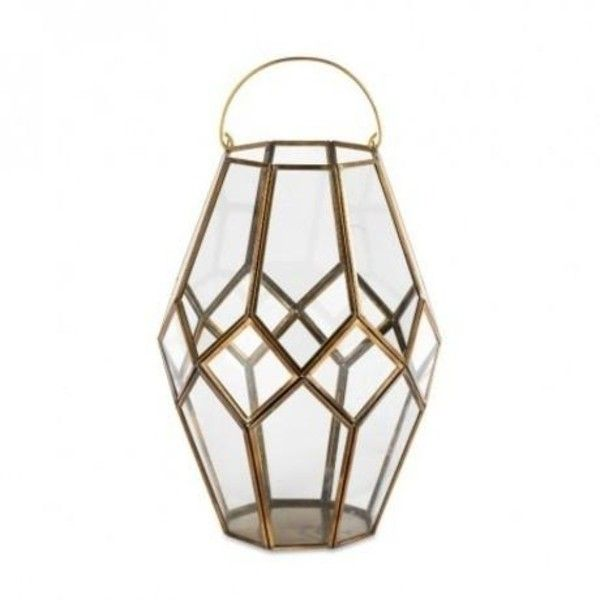 Mohani Brass Lantern Large ($65) ❤ liked on Polyvore featuring home, home decor, brass home accessories, brass home decor, geometric home decor and brass lantern