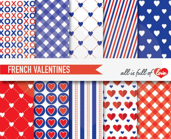 RED Blue VALENTINES Patterns Digital Scrapbooking by AllFullOfLove