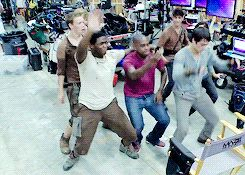 "The Maze Runner cast doing the ""Wobble""...if you're a Dylan O'Brien fan. ooooh yes."