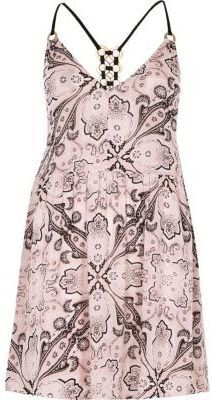 River Island Womens Pink scarf print ring back cami beach dress