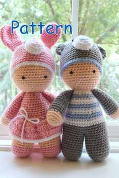 Crochet Amigurumi mignon Twin Baby Dolls PDF modèle jouet en peluche rose bleu…