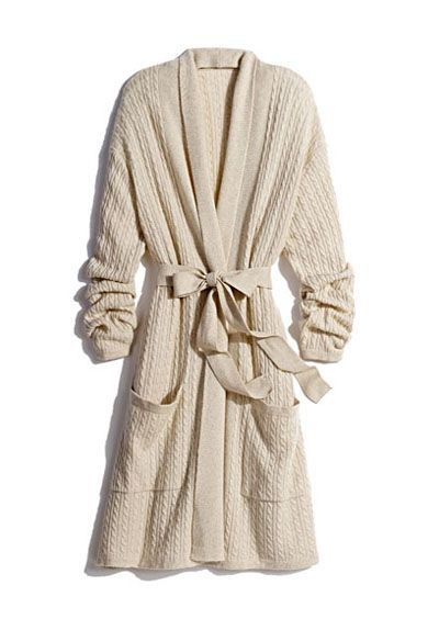Cashmere cable knit robe
