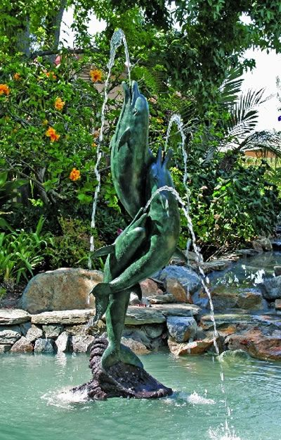 Entwined Dolphins Fountain
