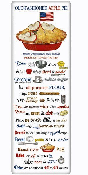 Patriotic Apple Pie Recipe 100% Cotton Flour Sack Dish Towel Tea Towel - Great gift!