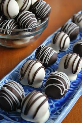 Oreo Truffles - For next time: Put formed balls in freezer for 30 min before dipping in chocolate, use 2 prong plastic forks to remove from chocolate