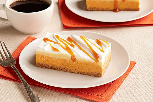 This No-Bake Pumpkin Spice Layered Dessert couldn't be easier to make, but it looks quite impressive, thanks to whipped topping and a drizzle of caramel.