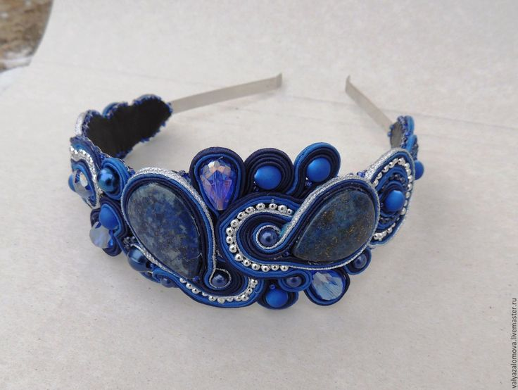 """Купить Ободок """"Лазурит"""" - тёмно-синий, выпускной бал, ободок для волос, ободок, диадема"""